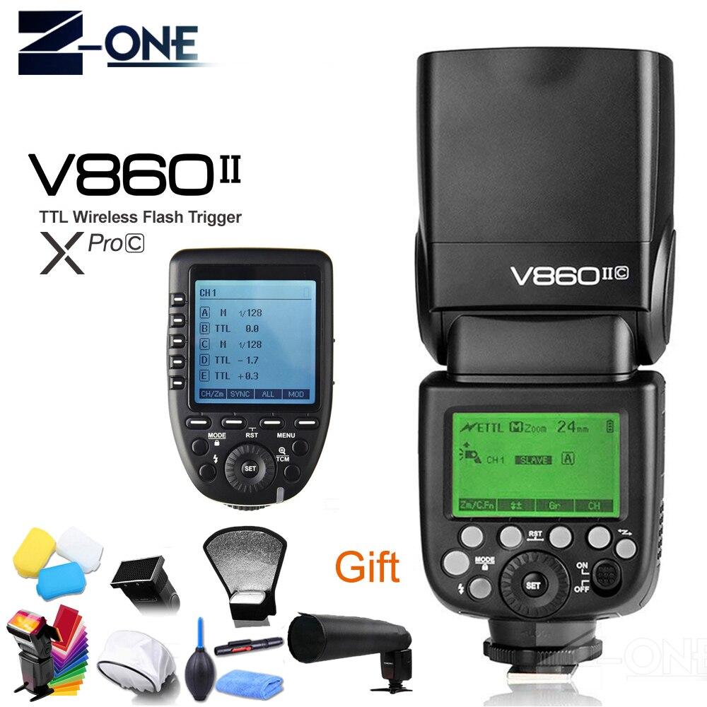 Godox فينج V860II V860II-C 2.4G HSS 1/8000 بطارية ليثيوم أيون TTL فلاش كاميرا + الارسال اللاسلكي Xpro-C لكانون Eos كاميرا