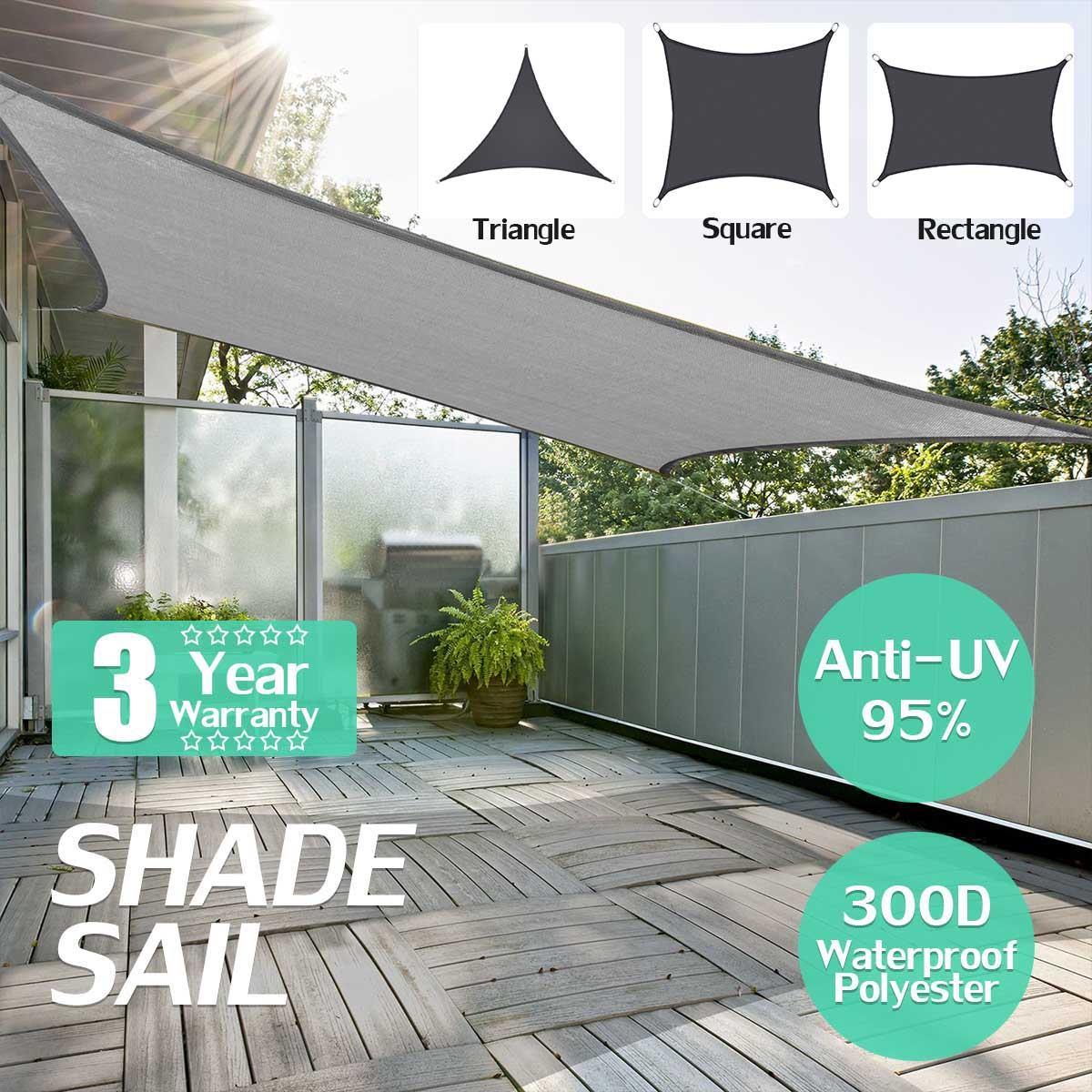 Negro púrpura tamaño 300D sol sombra navegar en casa de jardín al aire libre impermeable Canopy planta del Patio cubierta toldo de sol sombra