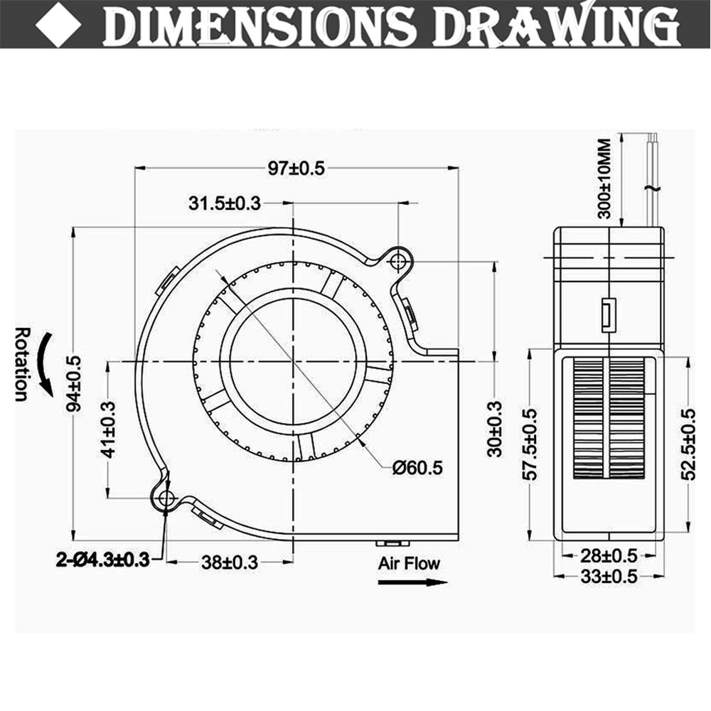 Gdstime DC 9733 12V 24V Blower Fan  97mm 97 x 33mm BBQ Blower Big Air Blower Flow Centrifugal Fan 3600RPM Sleeve/Ball Bearing enlarge