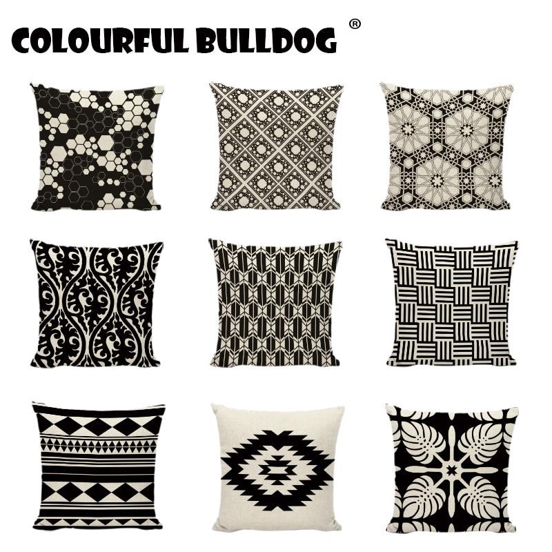 Funda de almohada de algodón con estilo geométrico en blanco y negro con rayas trilaterales de estilo étnico para decoración del hogar, funda de almohada de lino y jardín