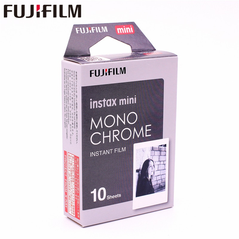 Original Fujifilm Instax Mini MONO cromo película instantánea de papel fotográfico para Instax Mini 8 7s 7 50s 50 i 90 25 9 SP-1 SP-2 Cámara