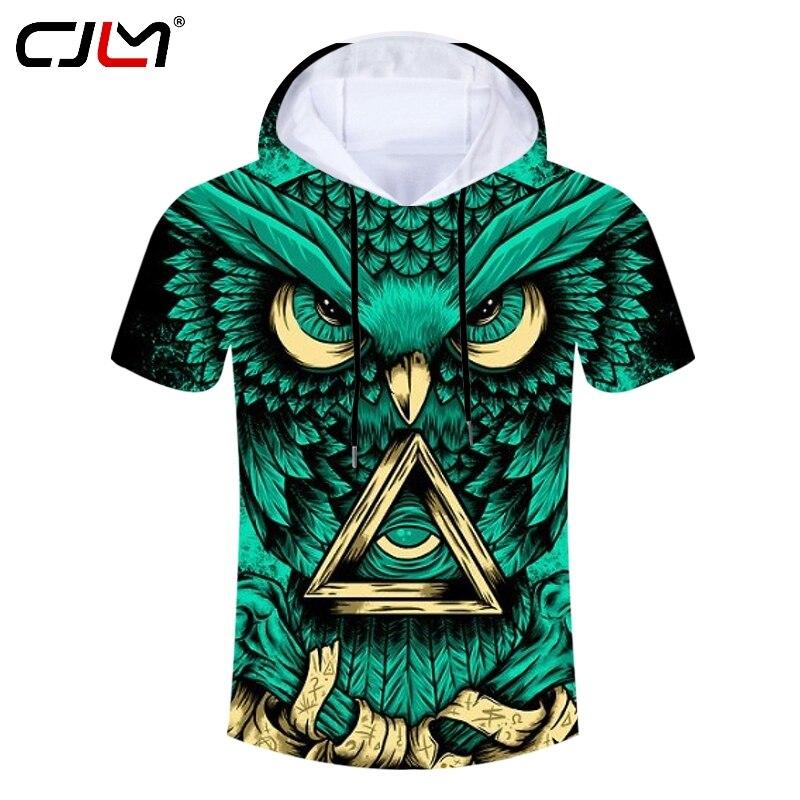 Homem Tamanho Grande Hoodies Spandex T-shirt CJLM 3D Completo Impresso Bandagem Coruja Camiseta Triângulo Amarelo Engraçado dos homens Hoodes tshirt