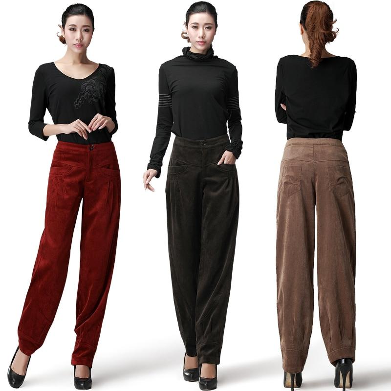 Свободные вельветовые брюки с высокой талией, повседневные брюки большого размера на осень и зиму 2020