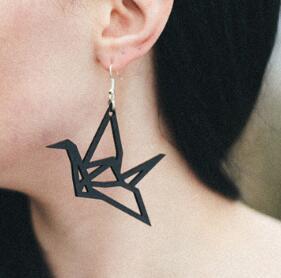 Серьги-капельки с оригами, 1 пара, черные и белые цвета, модные женские серьги в виде птиц