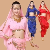 4pcs belly dance costume woman bollywood costume indian dress performance bellydance dress tribal belly dancing costume sets