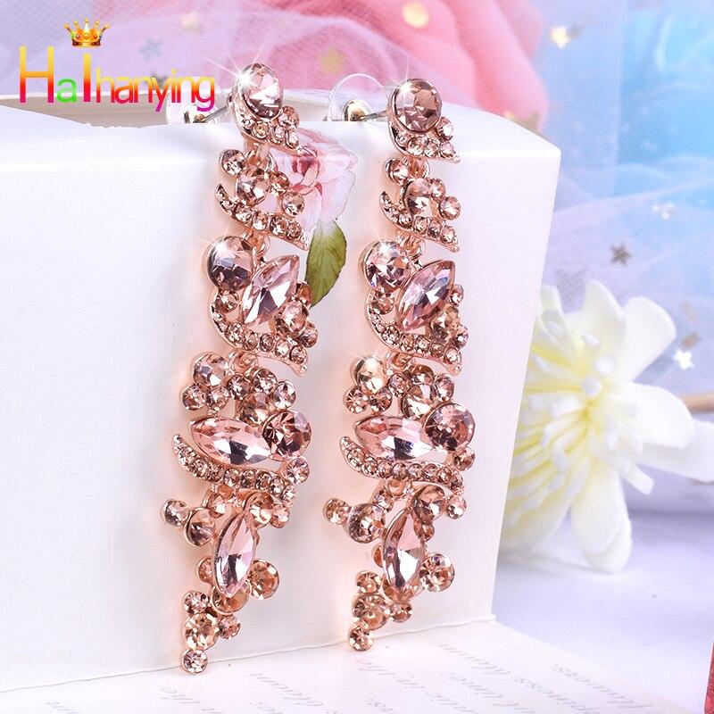 Novos brincos de strass de vidro imitação cristal moda jóias liga para as mulheres brincos de gota alto grau requintado brincos longos