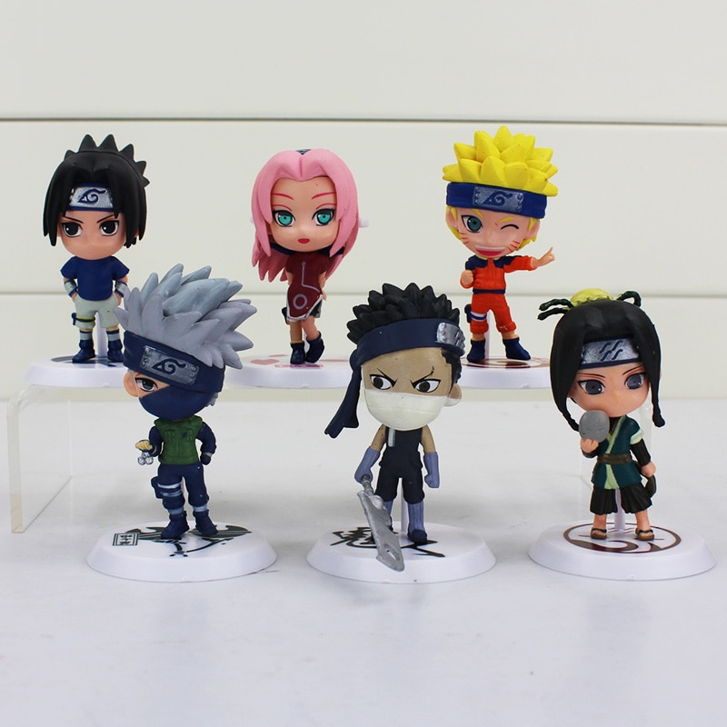 6 unids/lote Japón salto Naruto acción figura Kakashi Sakura Sasuke Itachi Obito Gaara PVC juguetes modelo estatuilla 37cm