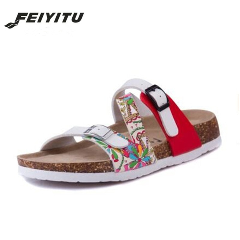 FeiYiTu 2018 nouveau été imprimer femme liège pantoufles sandales femmes Patchwork plage diapositives Double boucle tongs taille de chaussure 35-43