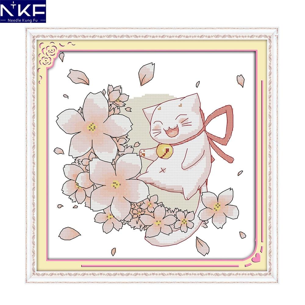 La NKF bendición gato de dibujos animados pintura chino Cruz puntada kits bordados de costura conjuntos estampados de punto de cruz Kit para niños