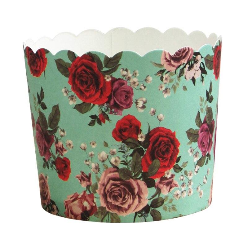 50 Uds gran tamaño de fondo verde rojo flores blancas Muffin papel tazas de Cupcake envoltura Liners para boda cumpleaños fiesta DIY hornear