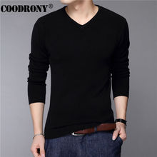 Coodrony Casual Slim Fit Trui Mannen Klassieke Pure Zwarte Trui Mannen Effen Kleur V-hals Pull Homme Kasjmier Wollen Truien Shirts