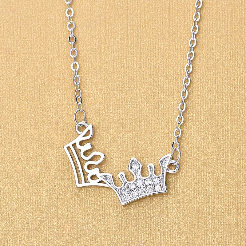 New 925 Sterling Silver Crystal Double Princess Crown Necklaces For Women Wedding Fashion Jewelry Gifts