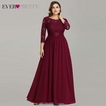 Grande taille mère de la robe de mariée jamais jolie EP07412 élégant a-ligne en mousseline de soie 3/4 manches dentelle longue robes de soirée de mariage