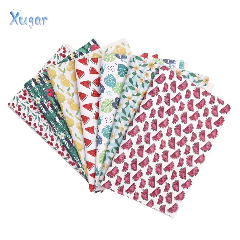 Xugar accessories 22*30cm watermelon Fruit floral Printed faux artificial Synthetic leather fabric For bow diy decoration crafts