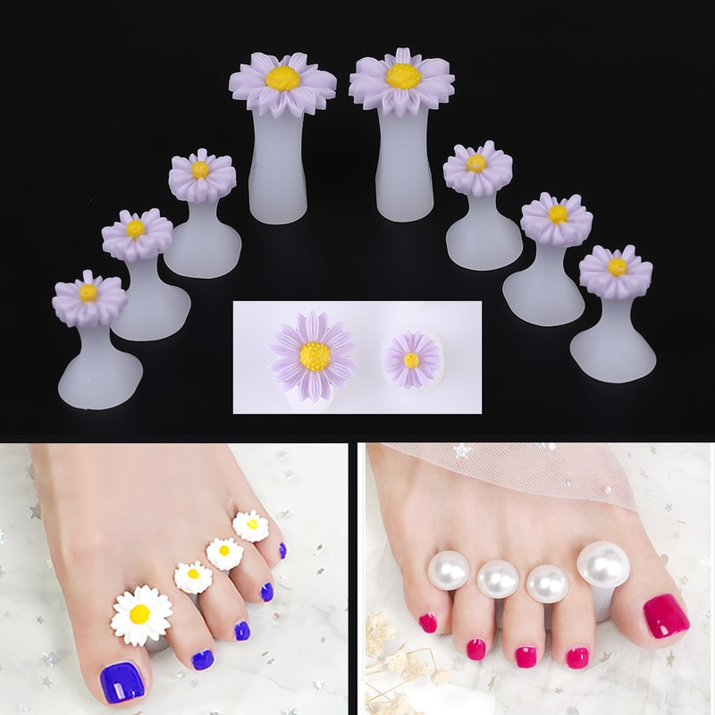 Quente 8 pçs silicone macio dedo do pé separador divisor de dedo forma manicure pedicure cuidados unha arte ferramenta flor titular acessório