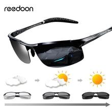 Reedoon-lunettes de soleil photochromique   Lentille polarisée UV400 monture en Aluminium et magnésium, lunettes de conduite pour hommes de haute qualité