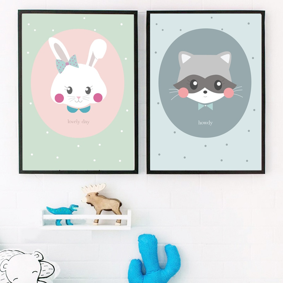 Cuadro sobre lienzo para pared con dibujos de conejo mapache carteles nórdicos e impresiones de animales cuadros de pared de guardería decoración de habitación de niños