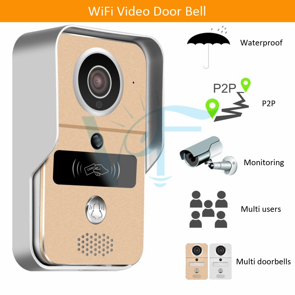 2pcs 1080P Rain cover case wireless video camera doorphone audio intercom door opener free shipping WiFi Enabled Night Vision