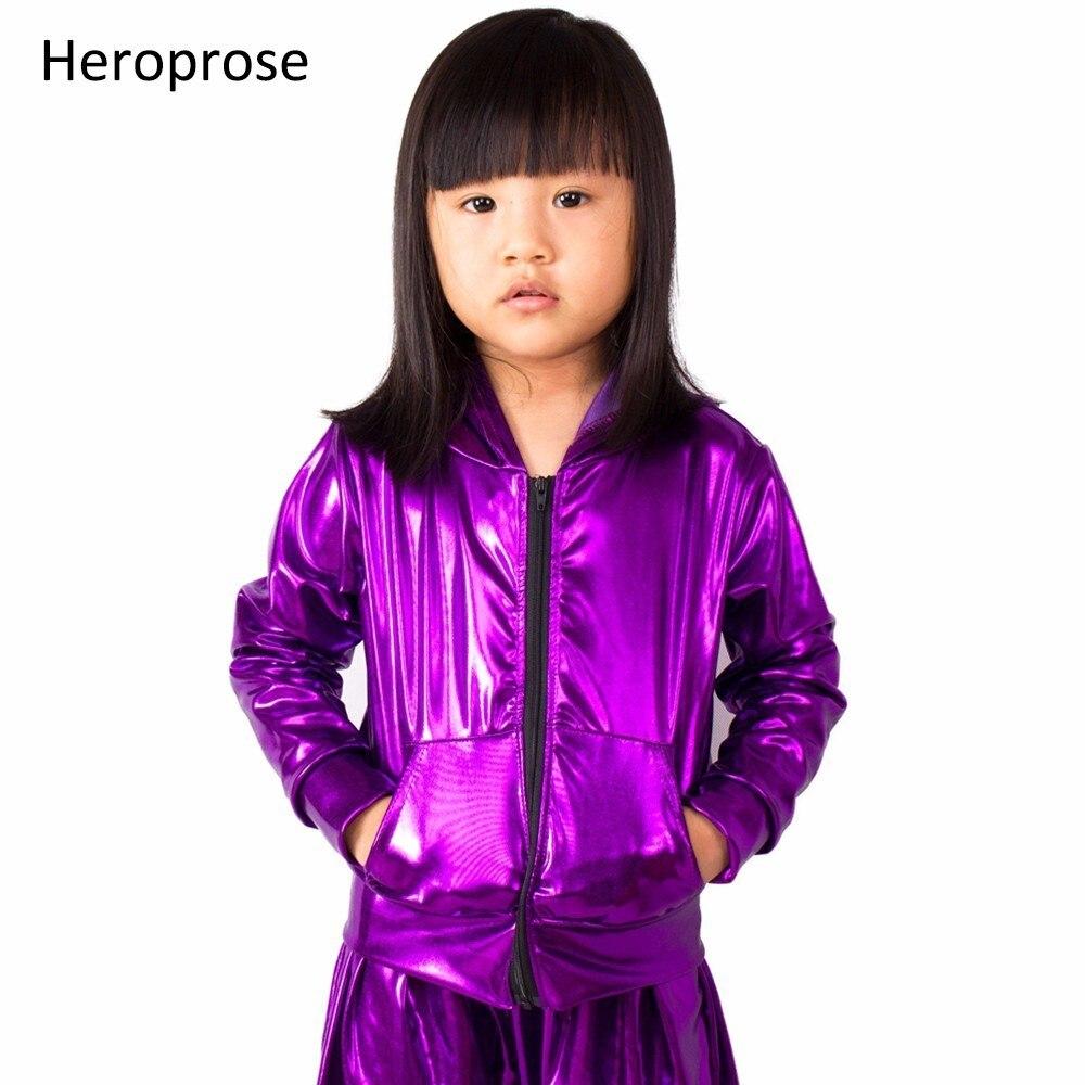 2018 Fashion Spring Autumn Kids bomber Jacket Stage Performance Wear paillette feminina casaco purple Hip Hop dance coat