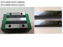 2pcs 100% Original Hiwin linear rail HGR25-1800mm + 4pcs HGH25CA narrow blocks