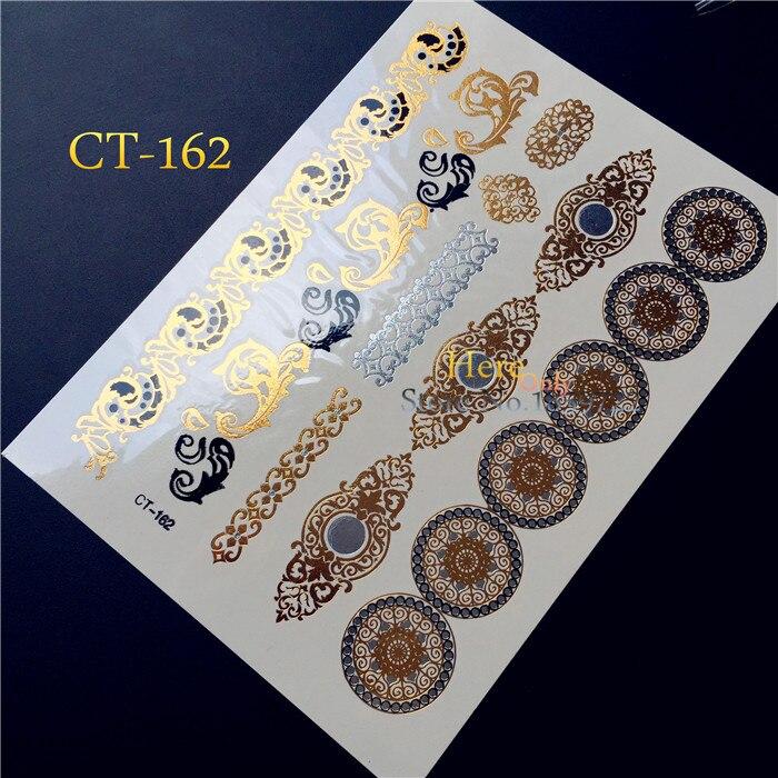 Hot 1PC Sexy nietoksyczny błyszczące złote tatuaż dla kobiet tatuaż brązowy metaliczny henna indyjska okrągły koło wzór tatuaż biżuteria