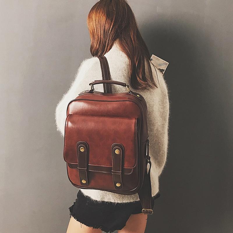 المرأة على ظهره موضة جديدة فتاة سعة كبيرة حقيبة مدرسية جلدية على ظهره حقيبة كتف بولي Pu خمر حقيبة موخيريس موتشيلا بولسا
