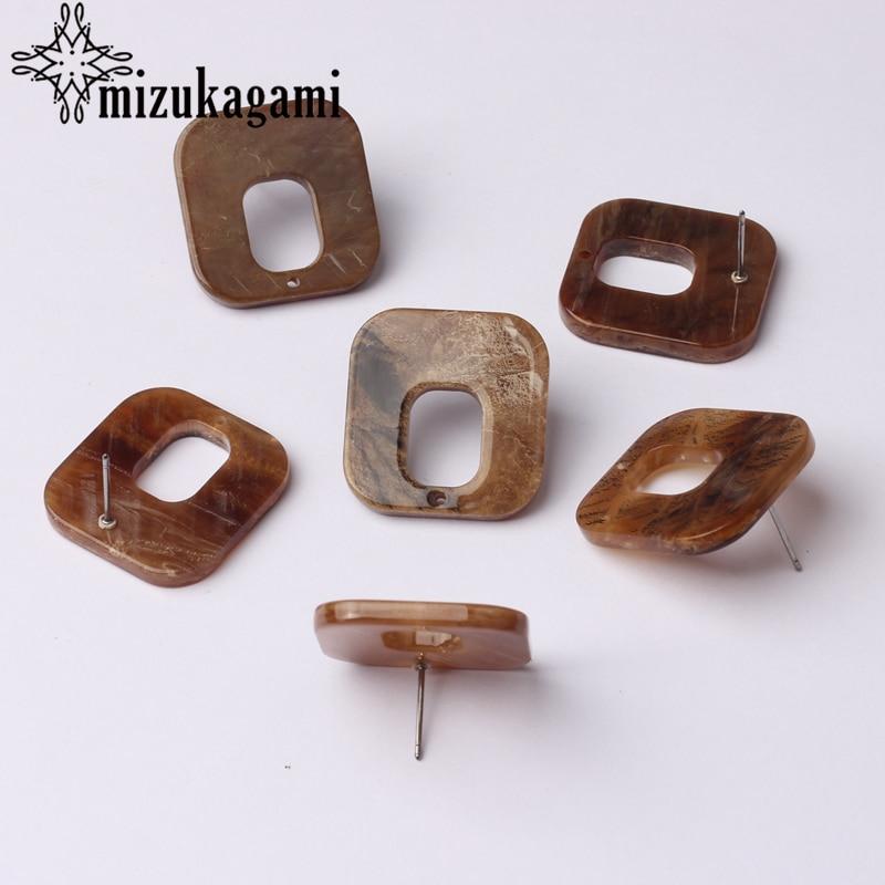 Acetic Acid Resin Hollow Geometry Brown Earrings Base Connectors 6pcs/lot For DIY Drop Earrings Jewelry Making Accessories