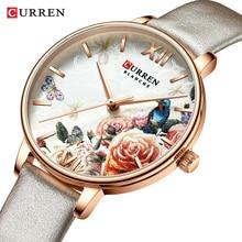 CURREN Charming Flower Design Watches Women Fashion Casual Leather Wristwatch Ladies Watch Female Clock Women's Quartz Watch