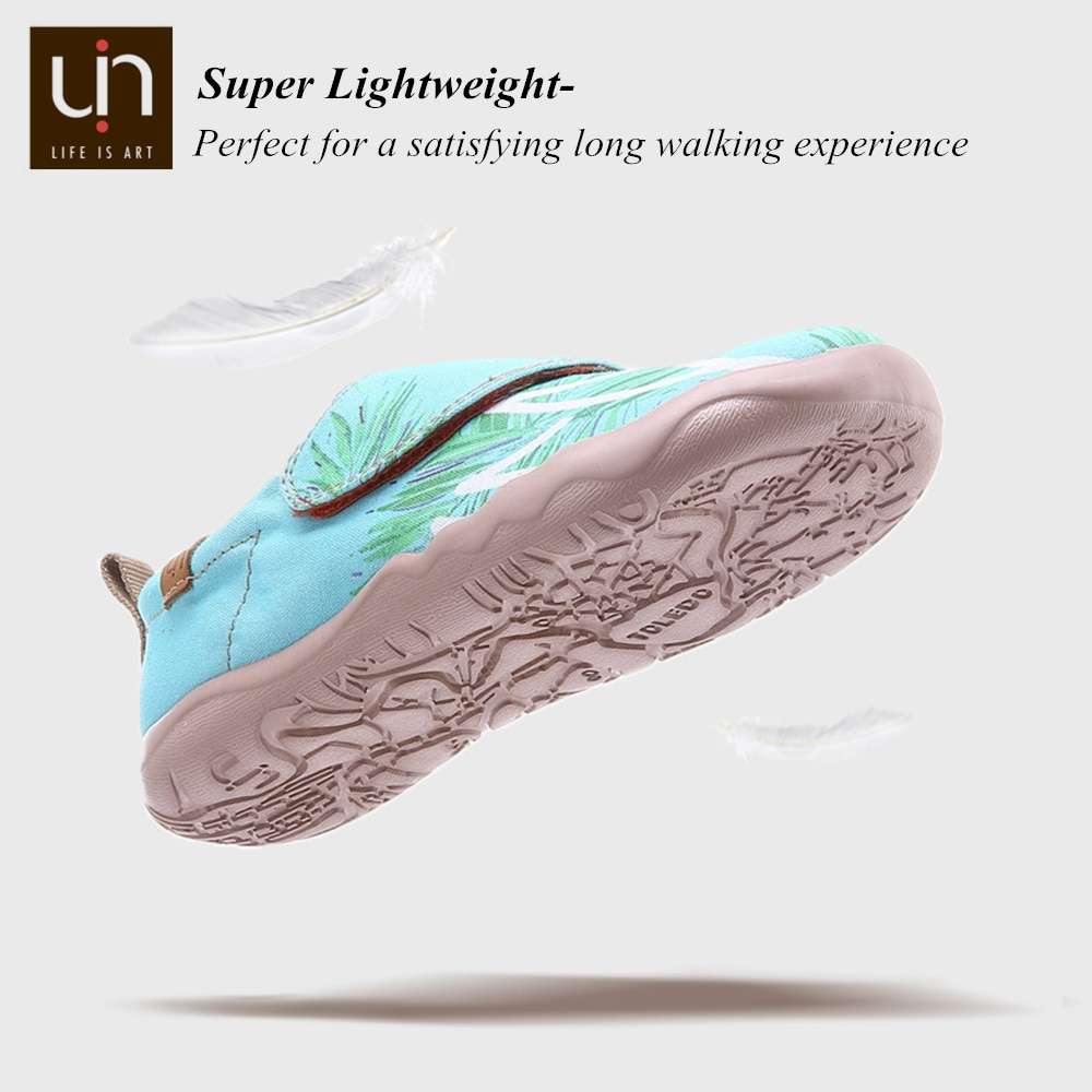 UIN Sea Breeze Design Painted Casual Shoes for Big Kids Hook & Loop Canvas Flats for Boys/Girls Comfort Outdoor Shoes Children enlarge