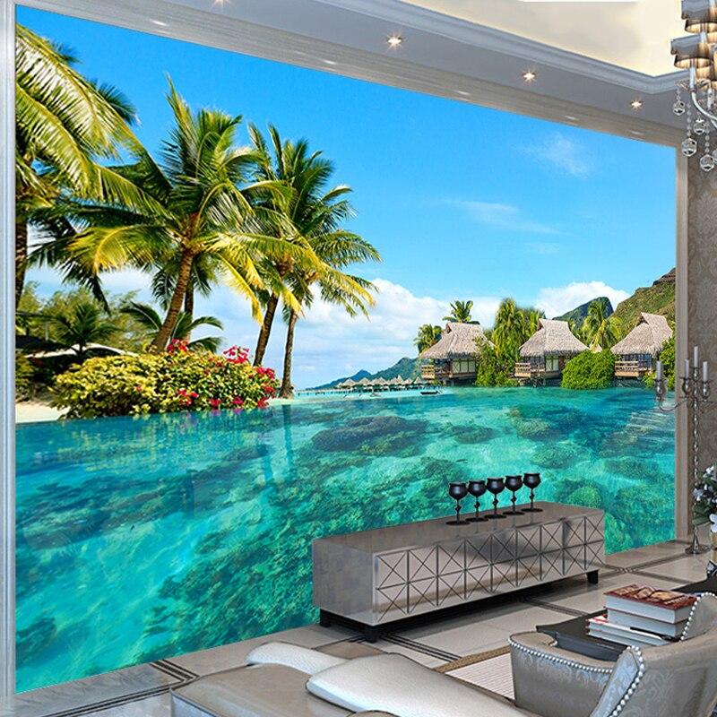 Hd maldivas vista mar foto mural papel de parede extensão espacial personalidade mural sala estar do hotel