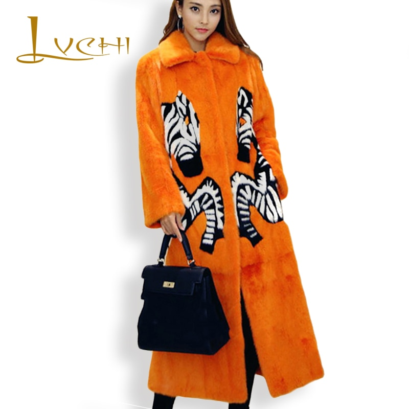 LVCHI Women Noble Print Fox Real Fur Coat 2019 Leather Fur Turn -Down Collar Zebra Denmark X-Long Mink Swan Velvet Mink Coats
