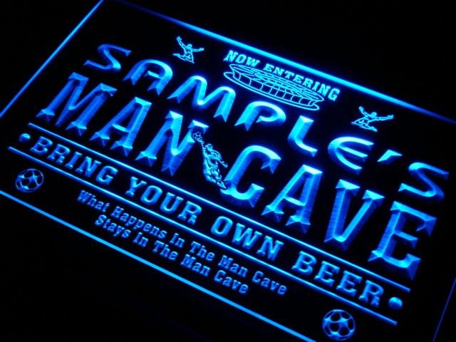 Qd-tm nombre personalizado hombre cueva fútbol Bar cerveza neón letreros con interruptor de encendido/apagado 7 colores 4 tamaños