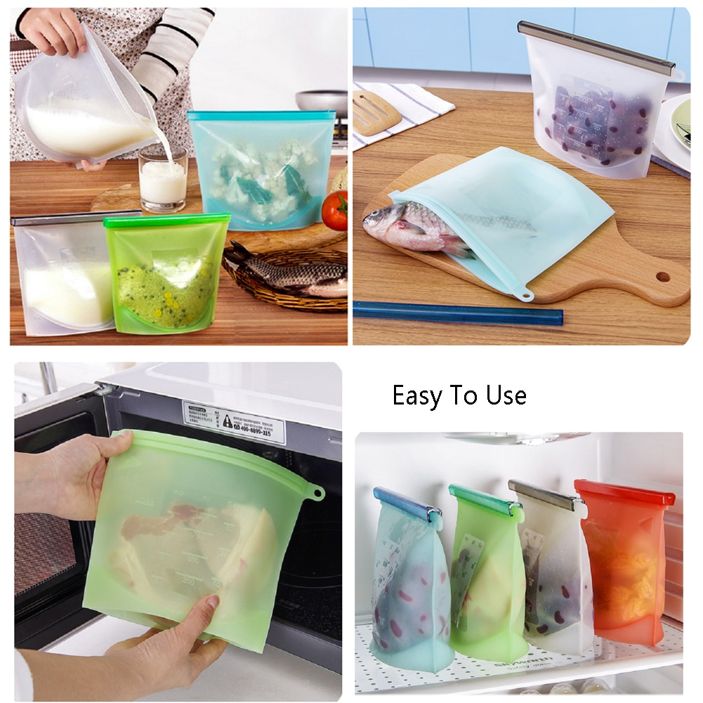 E-doo Reusable Silicone Food Freezer Storage Bag with Airtight Seal Cooking Containers for Freeze Steam, Heat Microwave Food