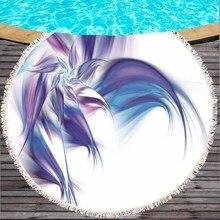 Wolves Heart Sunima Art Round Beach Towel Woman Wolf Printed Tassel Towel Mat Black White Blanket Feather Blankets Mats Toalla