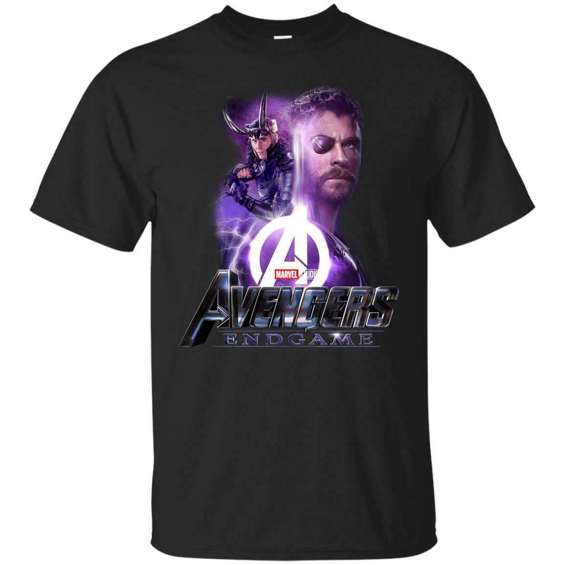 Thor y loki-vengadores final Marvel afiche cómico camiseta negra para hombres de manga corta de algodón camiseta moda camiseta superior