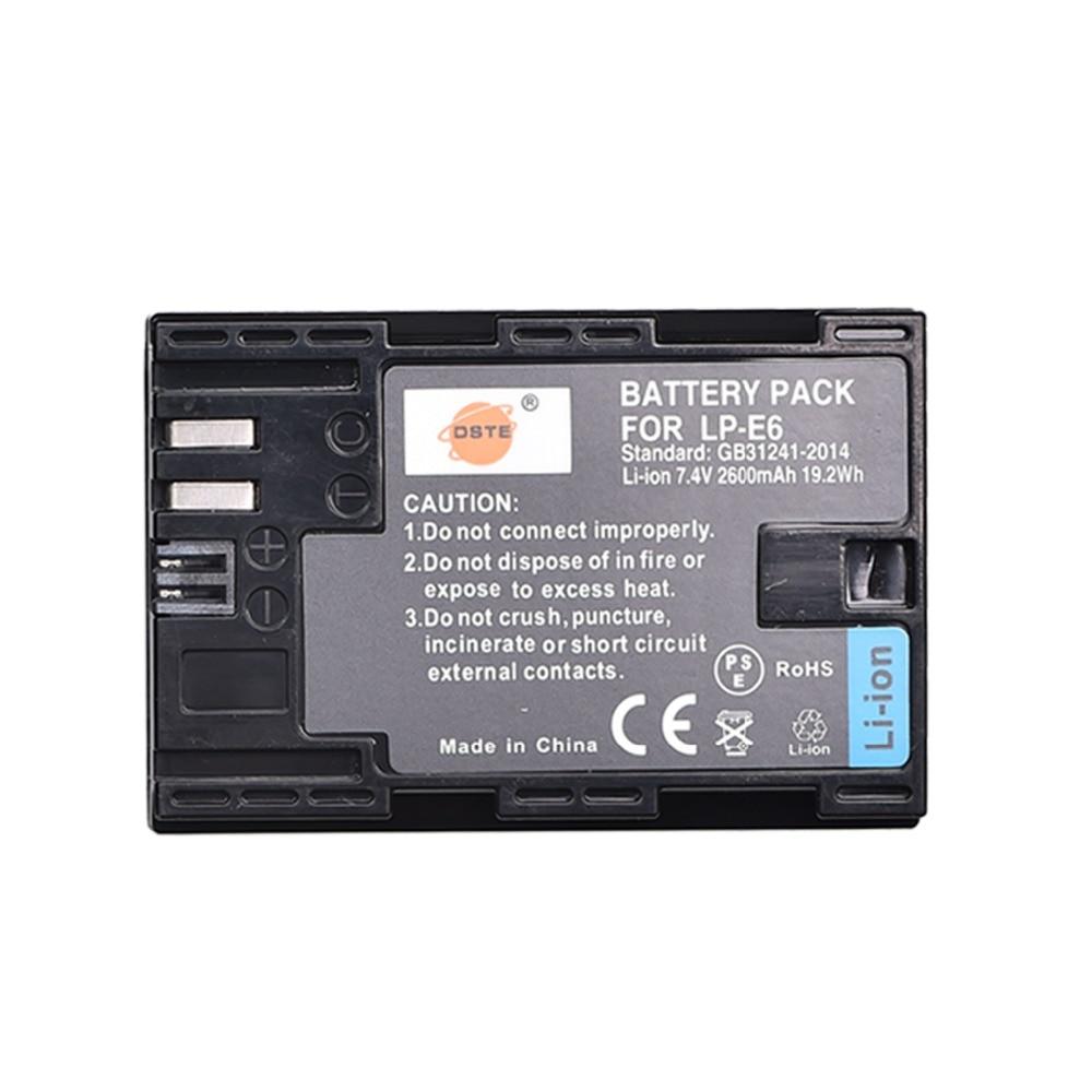 DSTE LP-E6 LP-E6N lp e6n 2600 mAh Battery for Canon EOS 5DS 5D Mark II 5D Mark III IV 6D 7D 60D 60Da 70D 80D 5DSR 7D Mark II