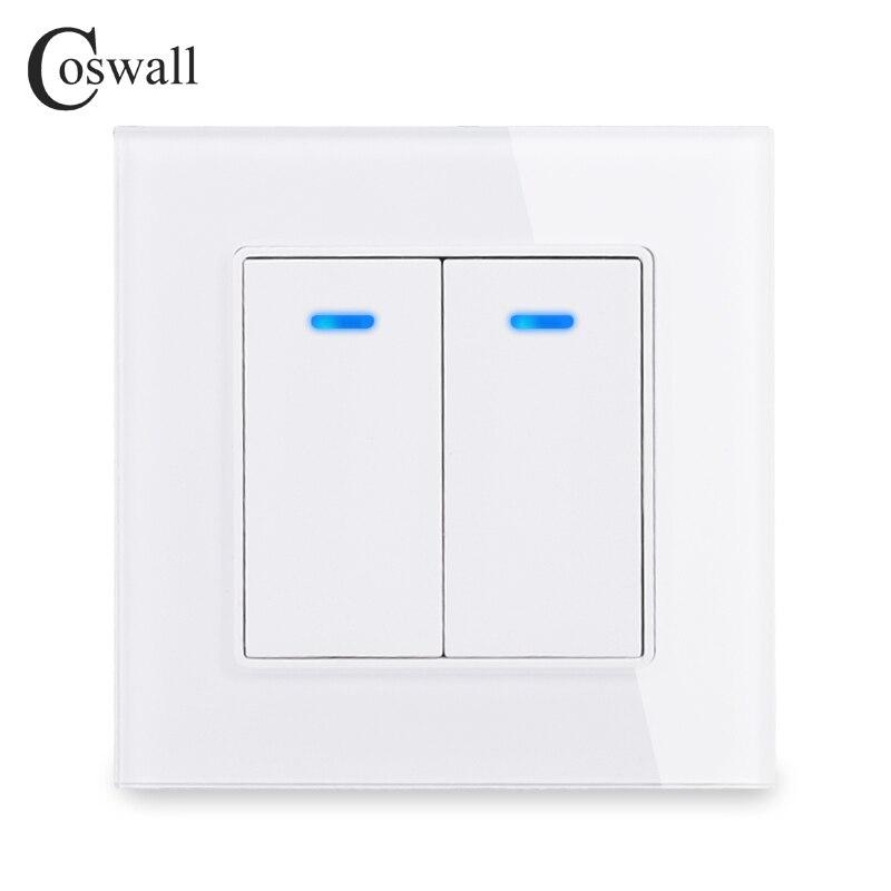 Coswall luxo cristal temperado painel de vidro 2 gang 1 way interruptor de luz de ligar/desligar interruptor de parede com indicador led 16a ac 250 v