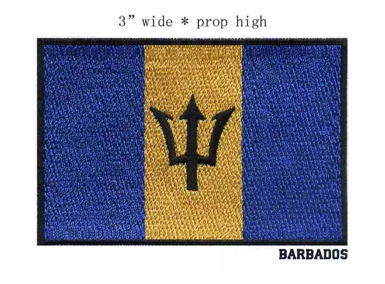 Parche bandera bordada para niños de 3 pulgadas de Barbados/militar/the forks