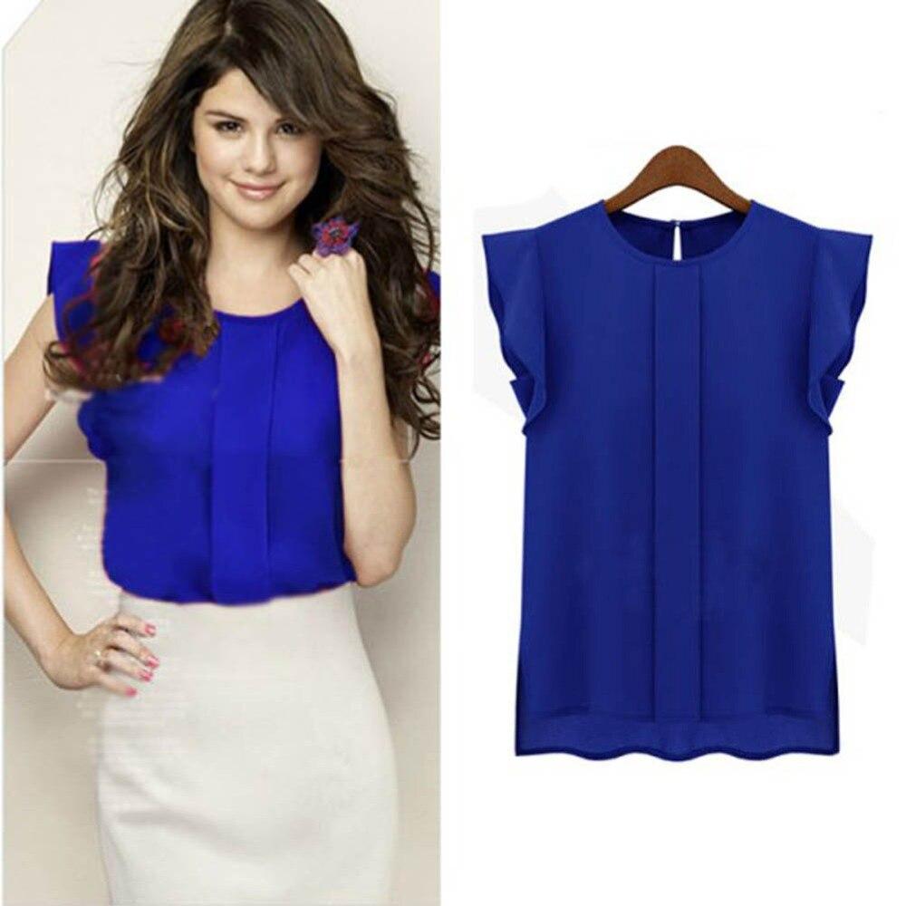AliExpress - 3 Colors Women T Shirt Summer 2020 Short Sleeve Chiffon Solid Color Tops Elegant OL T-shirts