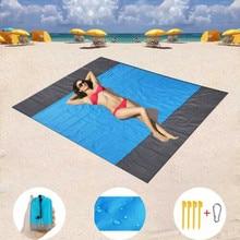 Estera de playa Arena playa Manta con Tote plegable Dacron esteras impermeable a prueba de arena pícnic al aire libre estera Camping manta alfombra # D