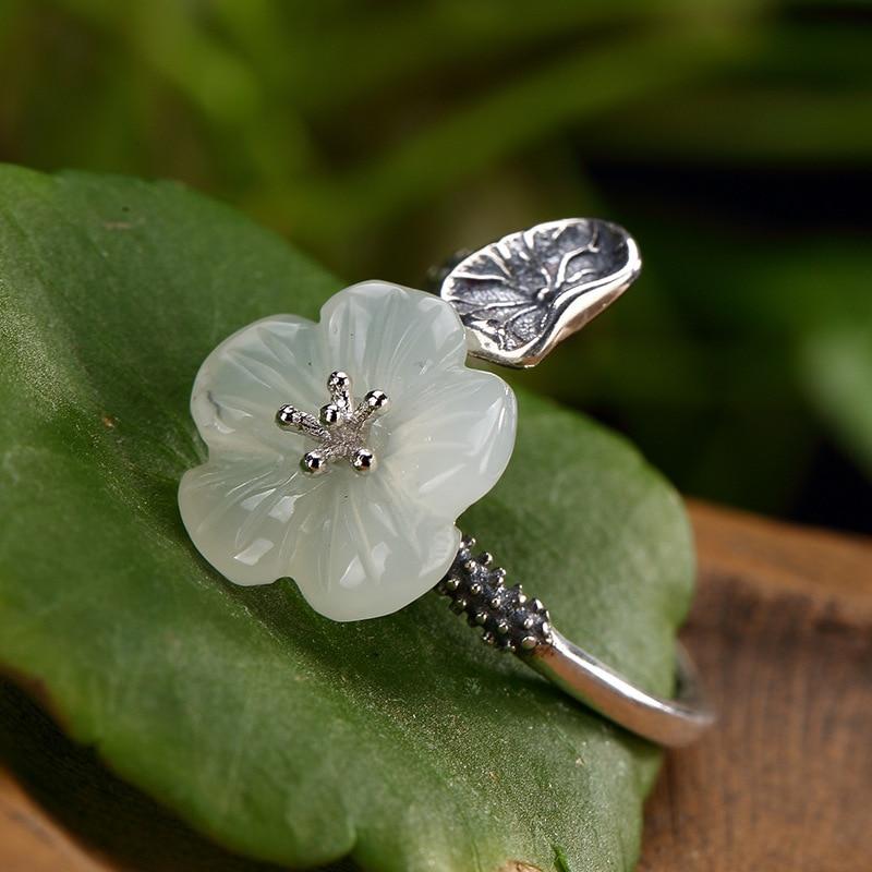 Moda Prata S925 Sterling Silver Antique E Hetian Jade Branco Da Flor Da Ameixa Mosaico Jog Atacado Anel de Alta Qualidade