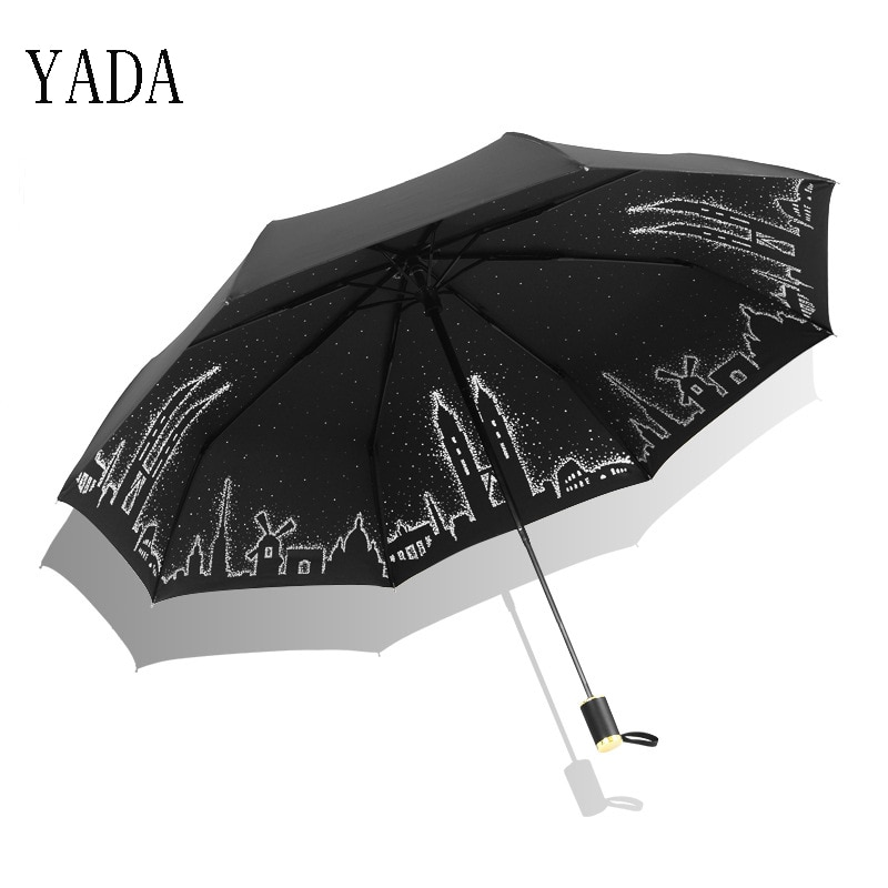 Guarda-chuva para Mulheres Qualidade para Mulheres uv de Alta Yada Torres Gêmeas Padrão Fada Design Conto Dobrável Guarda-chuva Chuva Marca Guarda-sóis Ys411