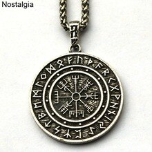 Nostalgie Viking Runes bijoux amulette végétvisir boussole pendentif collier Wicca païen Talisman bijoux