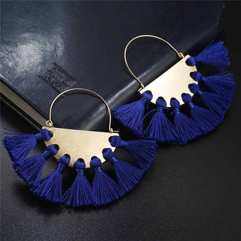 Pendientes largos con flecos azules hechos a mano Nuevos Bohemios para mujer, joyería para mujer, pendientes largos Vintage con flecos para novia, regalos