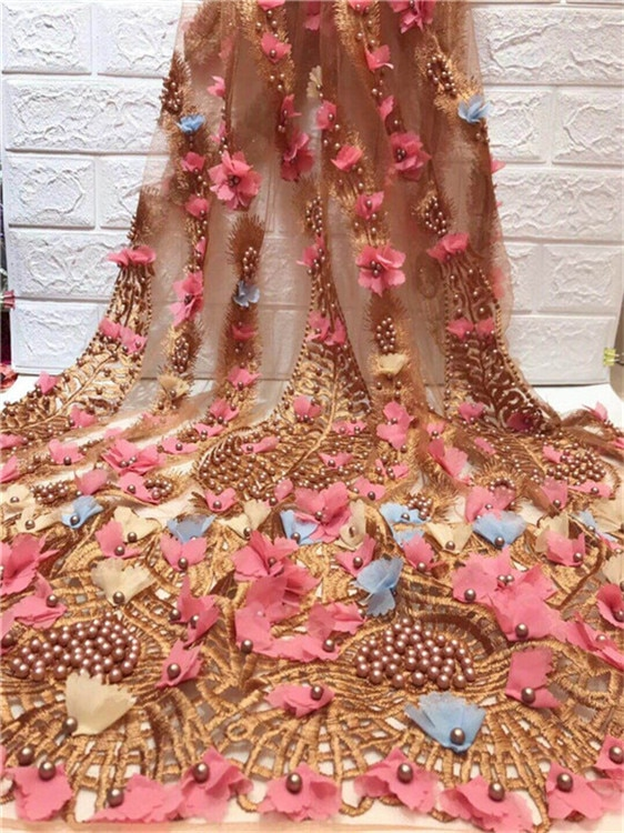 Nuevo tejido de encaje africano con cuentas 2018. De alta calidad de tela con encaje de red francés boda Nigeria Rosa 3D aplique de guipur tela de encaje