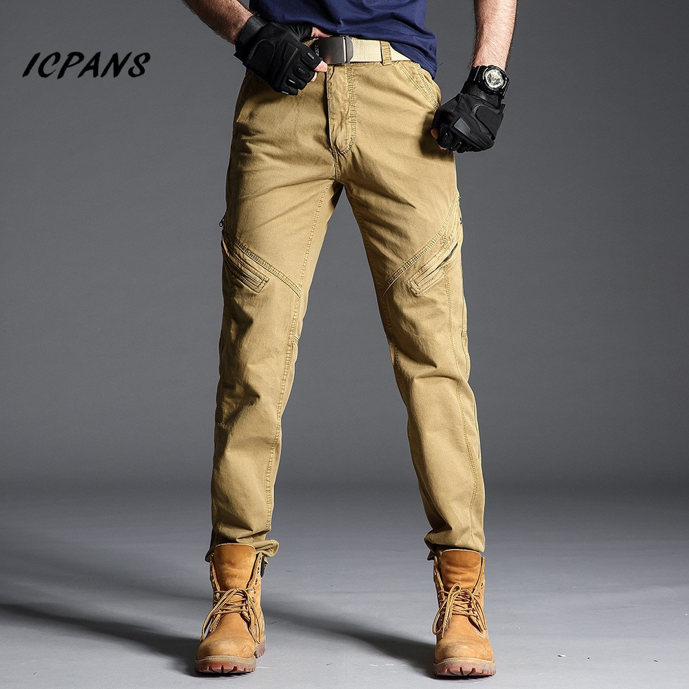 ICPANS Tactical Pants Men Cotton Military Cargo Pants Men Work Pant Combat Trousers Waterproof breathable joggers trousers