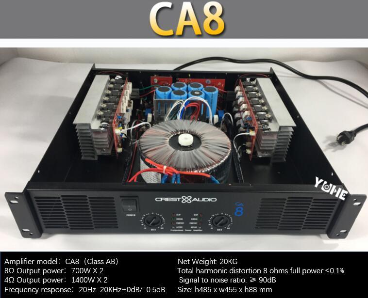 AMPLIFICADOR DE POTENCIA profesional CA8 amplificador de potencia pura 2 canales 2U KTV/escenario/entretenimiento en el hogar KTV 8ohm 350W * 2/4ohm 700*2