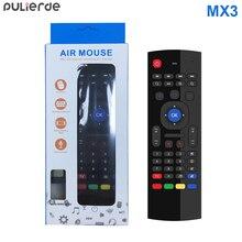 PULIERDE MX3 Pro 2.4 GHz anglais sans fil clavier IR apprentissage étendre télécommande rétro-éclairé avec voix Mini Air souris pour TV Box