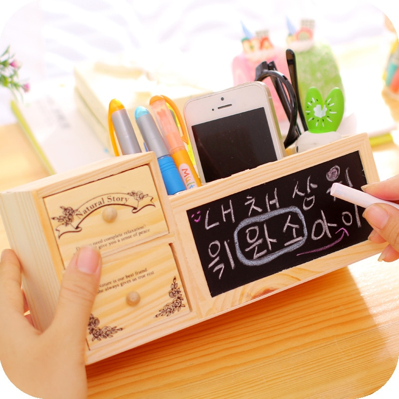 Kawaii Большой деревянный Ёмкость настольная подставка для ручек карандаш макияж ящик для хранения настольный органайзер подставка чехол шко...