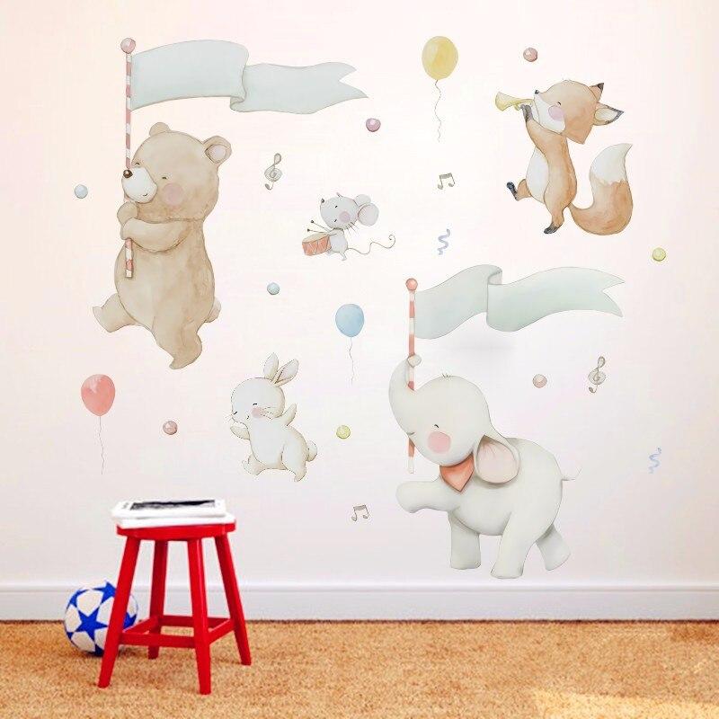 Autocollant mural en PVC bricolage   Autocollant de jeu, ours, éléphant, lapin, souris, chambre denfants de la maternelle, papier peint pour décoration de maison